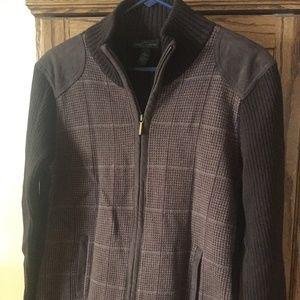 Lauren Ralph Lauren Brown Plaid Full Zip Sweater